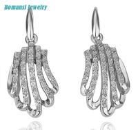 E064 Wholesale!Set stone plam shape 18K Real Gold PlatedEarrings For Women, New Fashion JewelryFree Shipping