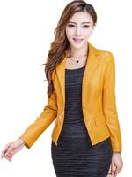2015 Autumn New Haining Leather Ms , Short Slim Genuine Leather Sheep Skin Women's Plus Size Suit  Leather L-XL-2XL-3XL-4XL-5XL