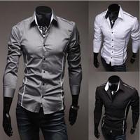 T1100 HOT Promotion 2014 Men Casual Slim Fit Dress Shirt Unique Neckline Mens Long sleeve Korean Shirt Fashion Men camisa M-XXXL