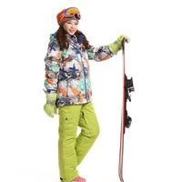 Dropshipping Prefessional Woman thermal SKI jacket+pants Waterproof Snowboard breathable ski juits windproof Skiing overall