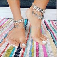 Women men new vintage Coin Dangle Wave Metal Ankle Bracelet Bohemian Adjustable Ankle Bracelet Foot Chain Free shipping