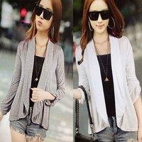 2014 autumn Korean Slim modal cotton long-sleeved cardigan jacket thin coat solid color wild cardigan