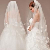 60~110cm two-layer ivory flower Bridal Veils Elegant Wedding Accessories Dress Bride Cathedral Chapel