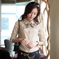 Hot New 2014 Fashion Casual Tops Loose Chiffon Shirt Sleeve Stitching Lace Crochet Sexy Ladies Blouses