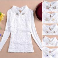 2014 autumn new Korean doll collar chiffon blouse shirt long-sleeved lace blouse