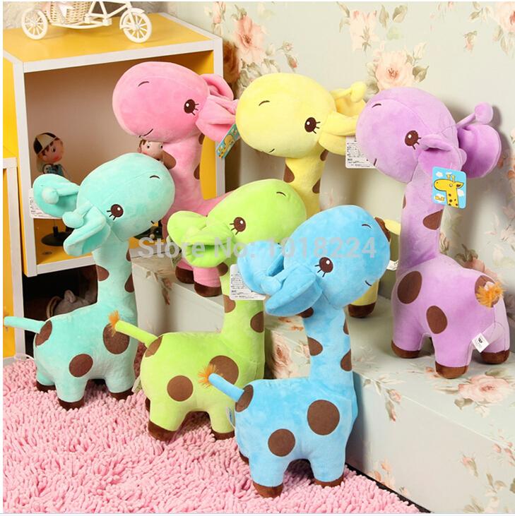 2014 new infant baby boys girls toy Lovely Giraffe Deer Soft Plush Toy children Animal Dolls Baby Kid Birthday Party Gift 1PIECE(China (Mainland))