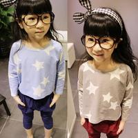Children Baby Kids Girls Stars Print Tee Tops Long Sleeve Bottoming Shirts