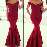 Hot sale Red Formal Fishtail Mermaid Elegant Long Party Evening Dress Prom Gown Women back corss Vestidos de Renda Maxi Dress