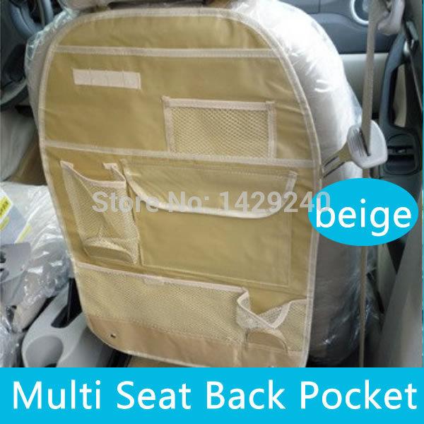 Beige Car Back Seat Organizer Multi-Pocket Storage Bag #CA2518B(China (Mainland))
