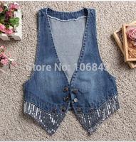 In spring and autumn  the new slim big code tide vest short denim jeans vest small coat jacket