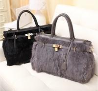 Fashion Women PU Leather Ribbit Hair Fur Lock Handbag Hobo Tote Shoulder Bag 2 Colors For choose