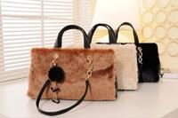 Fashion Women PU Leather Ribbit Hair Fur Chain Lattice Handbag Hobo Tote Shoulder Bag