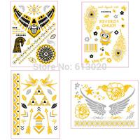Gold Temporary Metallic Flash Tattoos / Silver / Skin Jewelry 4Pcs/lot