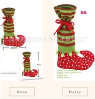 Happy Santa Stockings Christmas Gifts Socks Dot Ribbon Socks Xmas Party Decor Home Decorations