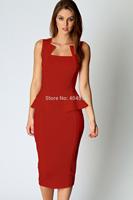 Free shipping women dress Abi Neck Detail Sleeveless Midi Dress  LC6150