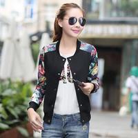 Roupas Femininas 2014 Single Button Floral Printed Short Jaquetas Street Sport Style Fashion Baseball Jacket Chaquetas Mujer 172