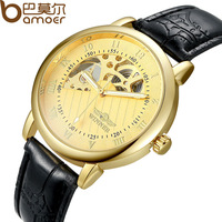 3 Colors Winner Brand Men's Mechanical Hand Wind Watches Leather Strap Man Skeleton Dress Wristwatch 2014 New WA5001