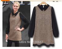 Autumn 2014 women's new retro fashion Lapel splicing long sleeved dress wool dress women dresses plus size dresses christmas