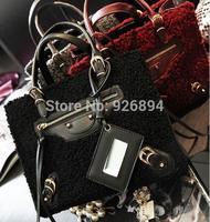 New winter fashion PU lambs wool retro smiling face in the mirror bat handbag shoulder bag ladies messenger bag 4 colors