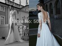 Hot Sale 2014 Berta Bridal Gowns V Neck Applique A Line Backless Long Formal Chiffon Long Sleeves Wedding Dresses