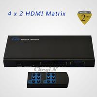 High Quality 4x2 Matrix HDMI Splitter Switch Adaptador Hub HDMI To HDMI Female To Female Switcher with Remote Control 0.35-HD006