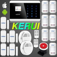 KERUI Android IOS APP Wireless Wired GSM Alarm System Telephone Touch keypad Color Display Security System Smoke Detector