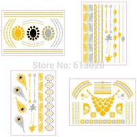 4pcs/1set Metallic Tattoo Feather Armbands Flash Gold And Silver Bracelet Temporary Tattoo