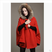 Top quality 2014 autumn/winter female wool jacket fashion women trench coat cape hooded cloak coat with fur trim