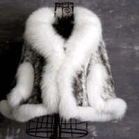 Excellent quality women sleeveless vest cape cloak faux fur coat