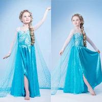 Blue Girls Kids Baby Frozen Princess Queen Elsa Dress Party Cosplay Costume Girl Fancy Dresses Long 3-8Y Freeshipping