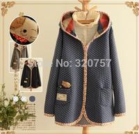 QA13 Free shipping new 2014 winter women  Cotton-padded jacket Sweet  long section of thickened Hooded Jacket Coat  Sen female