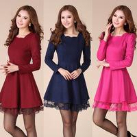 Korean version of the 2014 autumn and winter women new Slim woolen long-sleeved dress large size women