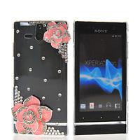 Handmade Luxury DIY 3D Cherry Leopard Butterfly Rhinestone Bling Diamond Crystal Back Cover For Sony Xperia U ST25I
