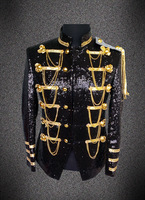 realphoto handsewing full black sequins bead luxury black glitter mens tuxedo suit/medieval jacket/stage performance,only jacket