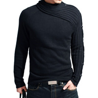 2014 Hot Classic Men's Knitwear/knitted sweater top/Jersey/Jumper Slim 100% cotton/ black/grey/ extra large XXL[Free shipping]