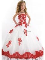 21 2014 princess flower girl dresses for weddings girls white-red style pageant dresses flowers prom dress children custom made