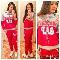 New 2014 winter Women clothing set 3 pcs Letters sportwear warm Fleece women hoody tracksuit