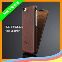 Wholesale 10Pcs/lot Cowhide Litchi Genuine Leather Case For apple iPhone 6,For Iphone 6 fashion real leather case,free shipping