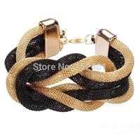 Black Gold Twisty Metal Chain Bowknot Bracelet Women Jewelry