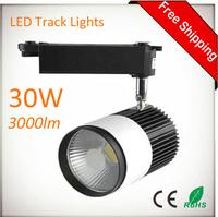 30W 3000lm COB LED Track Lights Bulb 85-265 Volt Rail-Mounted LED Wall Track Lighting For Cloth Store Shopping Mall 10pcs/lot