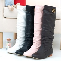 2014 HOT FASHION Lady Women Shoes PU Knee High Round Toe Low Heel Boots With Buckle  XMAS GIFT  Wedding Shoes EUR34-43