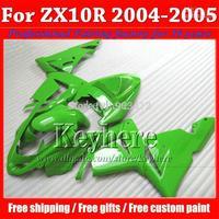 Racing pure green motorcycle fairings for 2004 2005 ZX-10R KAWASAKI Ninja plastic fairing kit ZX10R 04 ZX 10R 05 with  fy23