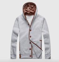 100% cotton Men's fleece of new fund of 2014 autumn winters, men's leisure fleece hooded jacket 5 colors (M--3XL)  Free shipping