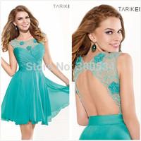 2015 Designer Scoop neck Mermaid Blue Prom Dresses Formal Gowns Custom-Made
