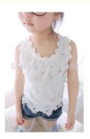 Free shipping WHITE hollow & lace decoration Baby Girls summer tanks Kids cotton t-shirts Princess lace t-shirts & tanks