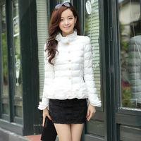 Roupas Femininos Coats Women Winter Coat Down Slim Style Fashion 2014 New Design Ruffles Lady Clothing Solid Color NZH033
