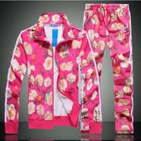 Printed Flower Women Fashion Sport suits Casual Hoodies Set Sweatshirt+pant women hoody Cardigans Free Shipping  Plus sizeM-XXL