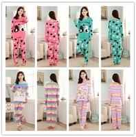 Free shipping Pajama Sets O-Neck Long Sleeve women Sleepwear autumn winter 100% Cotton Pajamas Women 12 colros M-XL