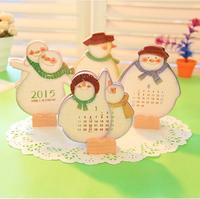 Stationery wholesale Parker snowman calendar / Creative Card 2015  table Calendar free shipping