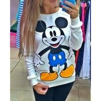2014 NEW Fashion Cute Mouse White Full sleeve girl hoodies sweatshirts tracksuits